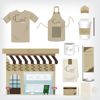 Vector cafe shop set pode ser usado para layout