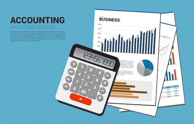 Vector calculadora e papel de documento da empresa com vários gráficos. conceito para investimento e contabilidade de informações comerciais
