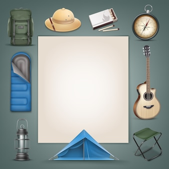 Vector camping mochila verde grande, chapéu safari, saco de dormir azul, barraca, lanterna, bússola, caixa de fósforos, guitarra, cadeira dobrável e copyspace isolado no fundo