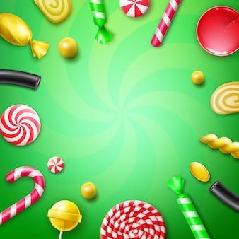 Vector candy flat lay com diferentes doces em embalagens de papel alumínio listrado de vermelho e amarelo, pirulitos redemoinhos, cana de natal e copyspace vista superior sobre fundo verde