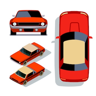 Vector carros de estilo simples em diferentes pontos de vista. ilustração de vista 3d isométrica de sedan de carro músculo vermelho