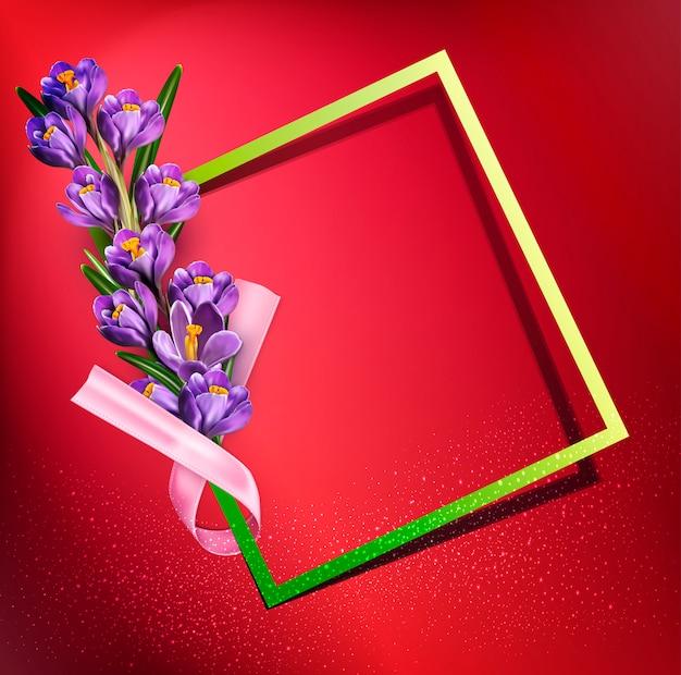 Vector cartão com açafrões azuis, frame, fita rosa e copyspace