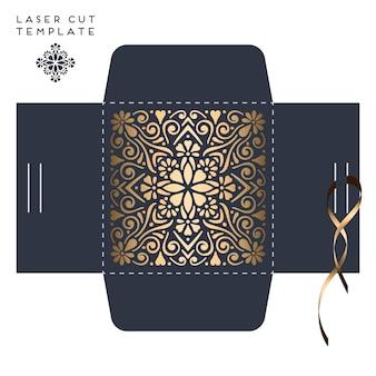 Vector cartão de casamento laser corte modelo com mandala