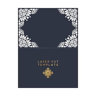 Vector cartão de casamento modelo de corte a laser elementos decorativos vintage