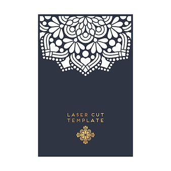 Vector cartão de casamento molde de corte a laser elementos decorativos vintage