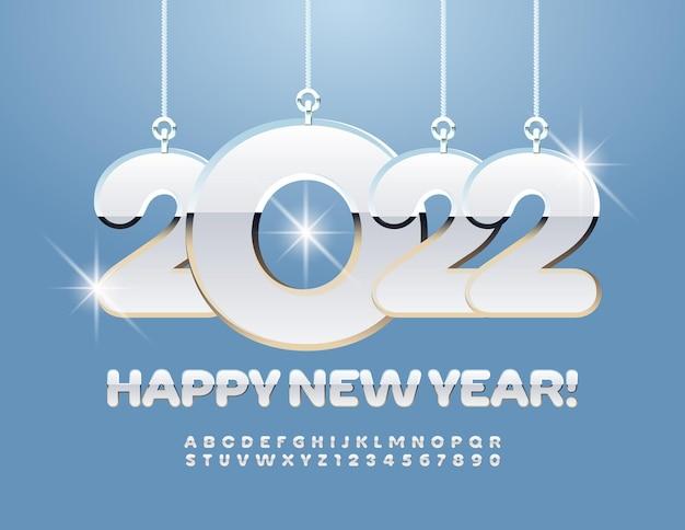 Vector cartão de felicitações de feliz ano novo 2022 com conjunto de letras e números do alfabeto de brinquedos de natal