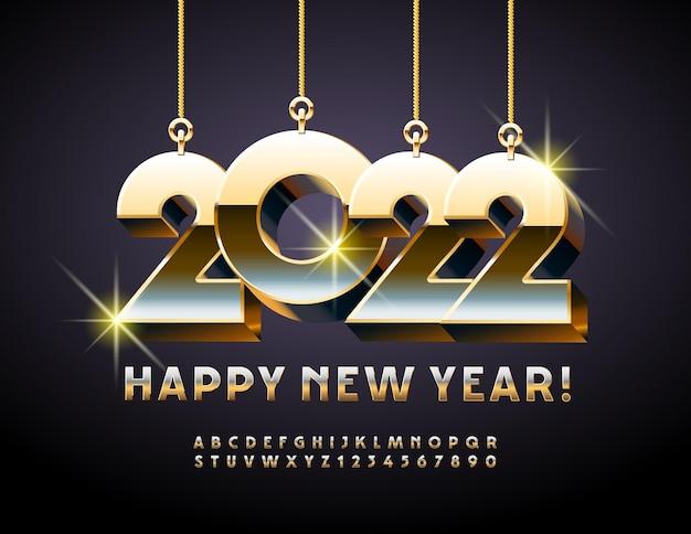 Vector cartão de felicitações de feliz ano novo 2022 com letras e números do alfabeto de brinquedos de natal dourados