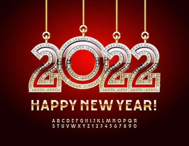 Vector cartão de felicitações de feliz ano novo 2022 com lindos brinquedos de natal, alfabeto dourado