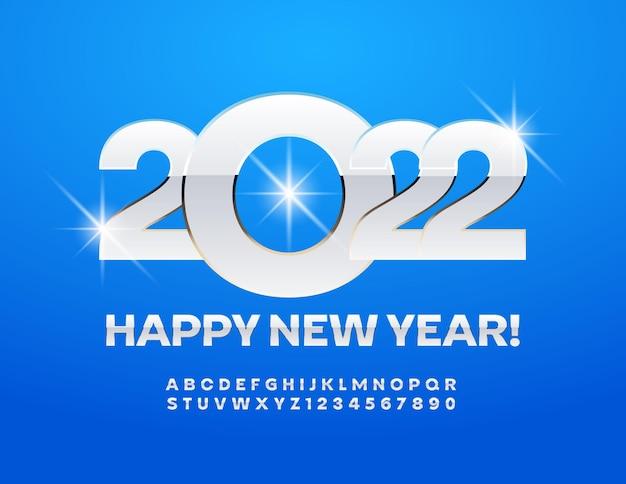 Vector cartão de felicitações de feliz ano novo 2022 conjunto de letras e números do alfabeto de branco e prata