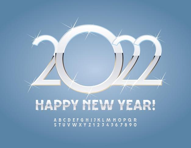 Vector cartão de felicitações de feliz ano novo de 2022 letras e números elegantes do alfabeto com estrelas cintilantes