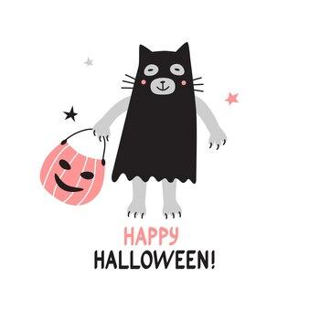 Vector cartão de feliz dia das bruxas com um lindo gato branco vestido de fantasma. desenho de cores pastel.