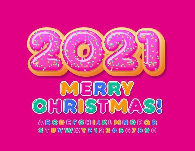 Vector cartão feliz natal 2021 com donuts. fonte de crianças brilhantes. conjunto de letras e números do alfabeto colorido