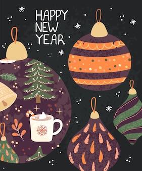 Vector cartão moderno com mão colorida desenhar ilustração de brinquedos de árvore de natal. use-o como convite, cartão postal, pôster, banner, panfleto, capa, cartaz, folheto e outro design gráfico