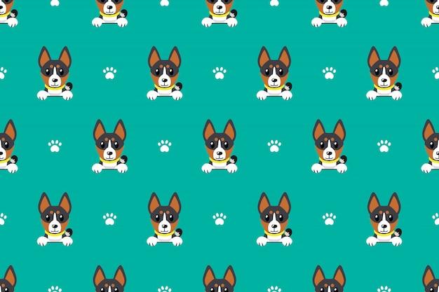 Vector cartoon basenji cão sem costura padrão