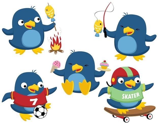 Vector cartoon conjunto de atividades de pinguins