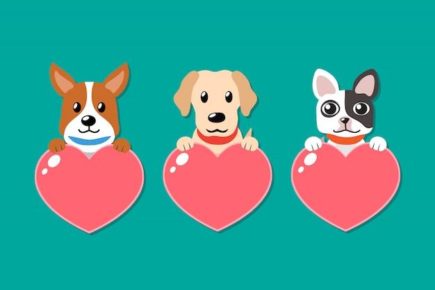 Vector cartoon conjunto de cães com sinais de coração