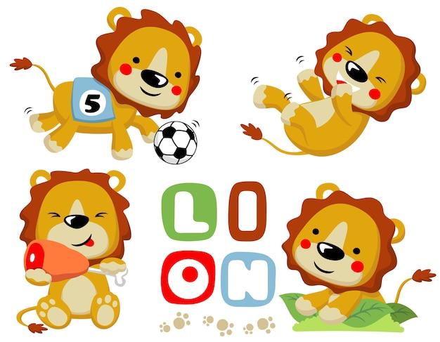 Vector cartoon conjunto de leões felizes