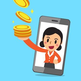 Vector cartoon empresária e smartphone ganhando dinheiro