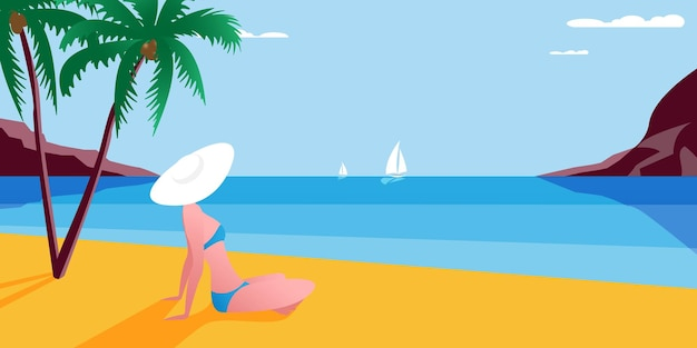 Vector cartoon estilo de fundo da costa do mar. bom dia de sol. jovem garota descansando na praia sob as palmeiras.