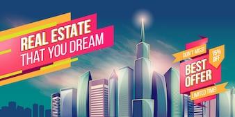 Vector cartoon illustration, banner, fundo urbano com modernos edifícios da cidade grande