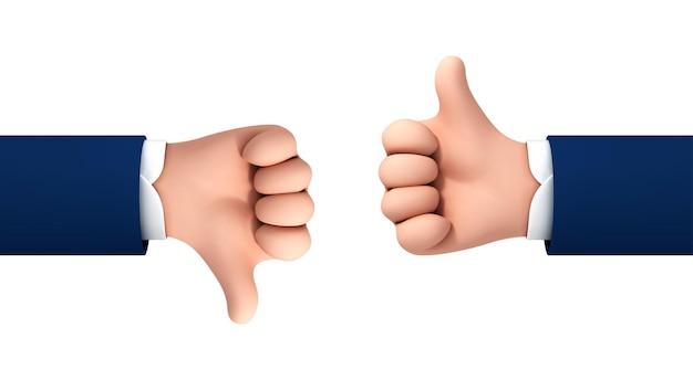 Vector cartoon mãos humanas polegar para cima e para baixo, isolado no fundo branco. conceito de vetor gosta e não gosta de gesto ou símbolo.