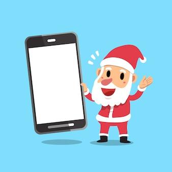 Vector cartoon papai noel segurando grande smartphone