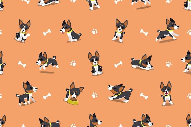 Vector cartoon personagem basenji cão sem costura padrão