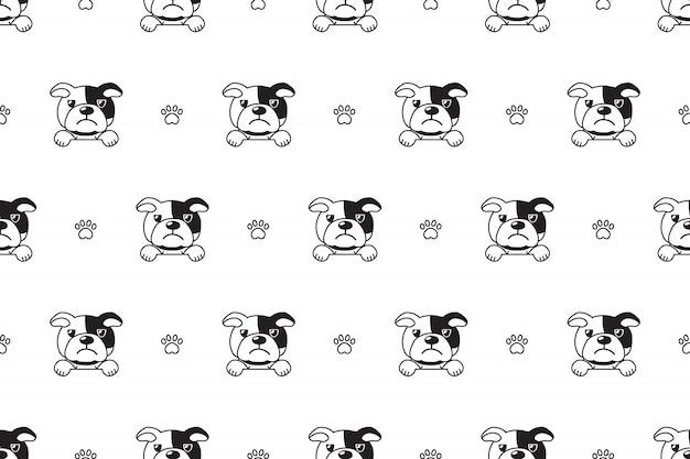 Vector cartoon personagem bulldog padrão sem emenda