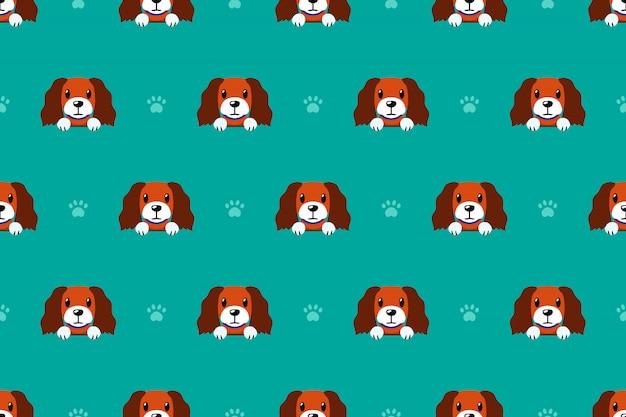 Vector cartoon personagem cão sem costura padrão