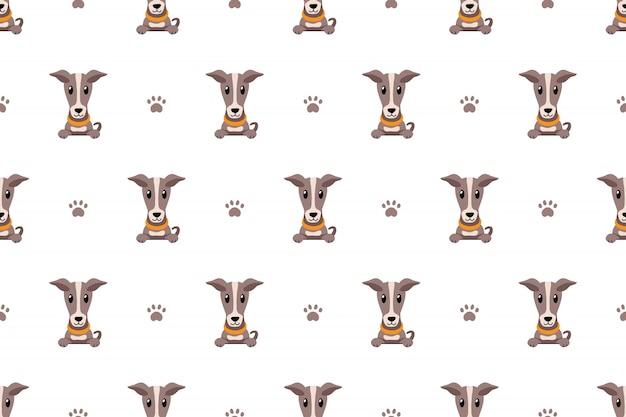Vector cartoon personagem galgo cão sem costura padrão