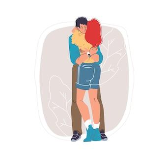 Vector cartoon plana personagens amigos amantes casal feliz se abraçando, jovens apaixonados - comunicação, emoções, amizade, conceito social