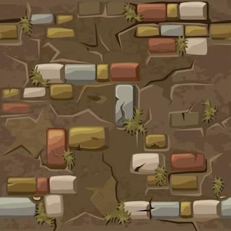 Vector cartoon sem costura padrão textura velha parede de tijolos de crack