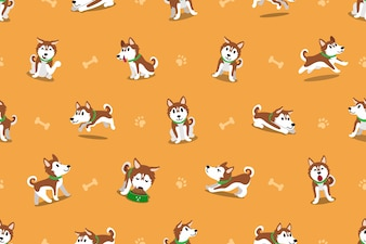 Vector cartoon siberiano husky dog ​​sem costura padrão
