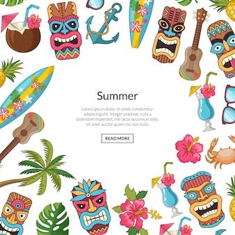 Vector cartoon verão viagem elementos tiki ilustração