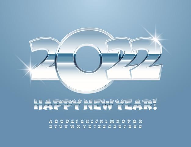 Vector chique cartão de felicitações de feliz ano novo 2022 conjunto de letras e números do alfabeto metálico lúdico