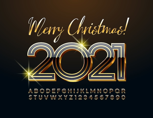 Vector chique cartão feliz natal 2021 com ouro e fonte preta. letras e números do alfabeto maiúsculo de luxo 3d