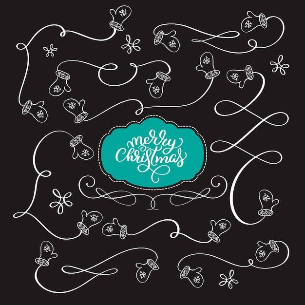 Vector coleção de ano novo desenhado à mão elementos de natal divisores manoplas guirlanda, fronteira