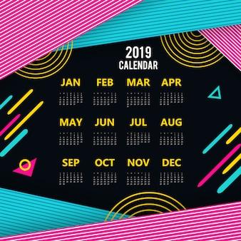 Vector colorido calendário 2019 design