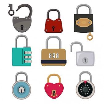 Vector colorido conjunto de ícones de cadeados