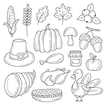 Vector colorido mão desenhada doodle conjunto de desenhos animados de objetos e símbolos sobre o tema outono de ação de graças. preto e branco
