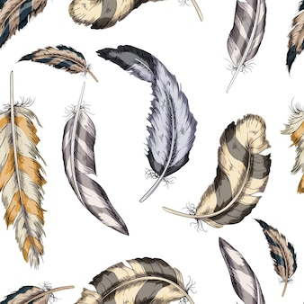 Vector colorido padrão sem emenda penas pássaro