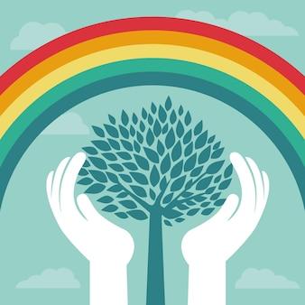 Vector conceito criativo com arco-íris e árvore