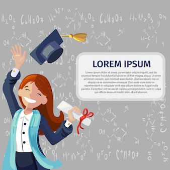 Vector concept illustration desenhos animados felizes estudantes