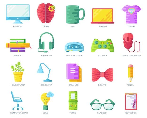 Vector conjunto colorido de geeks people