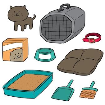 Vector conjunto de acessórios de gato