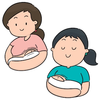 Vector conjunto de aleitamento materno mãe e bebê