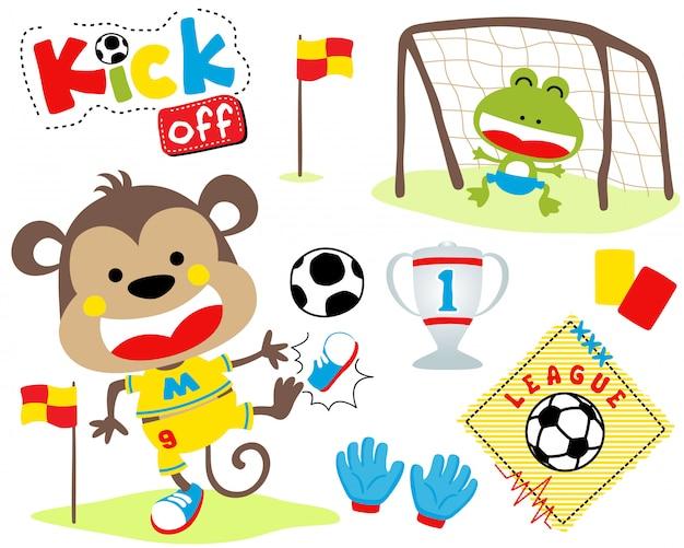 Vector conjunto de animais dos desenhos animados no jogo de futebol