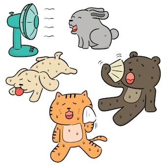 Vector conjunto de animais em clima quente
