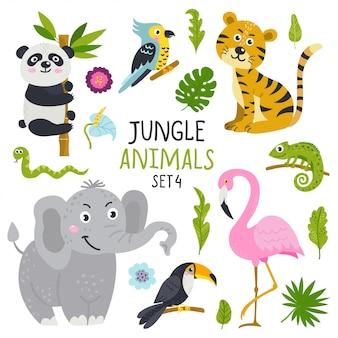 Vector conjunto de animais fofos da selva