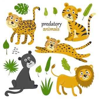 Vector conjunto de animais predatórios